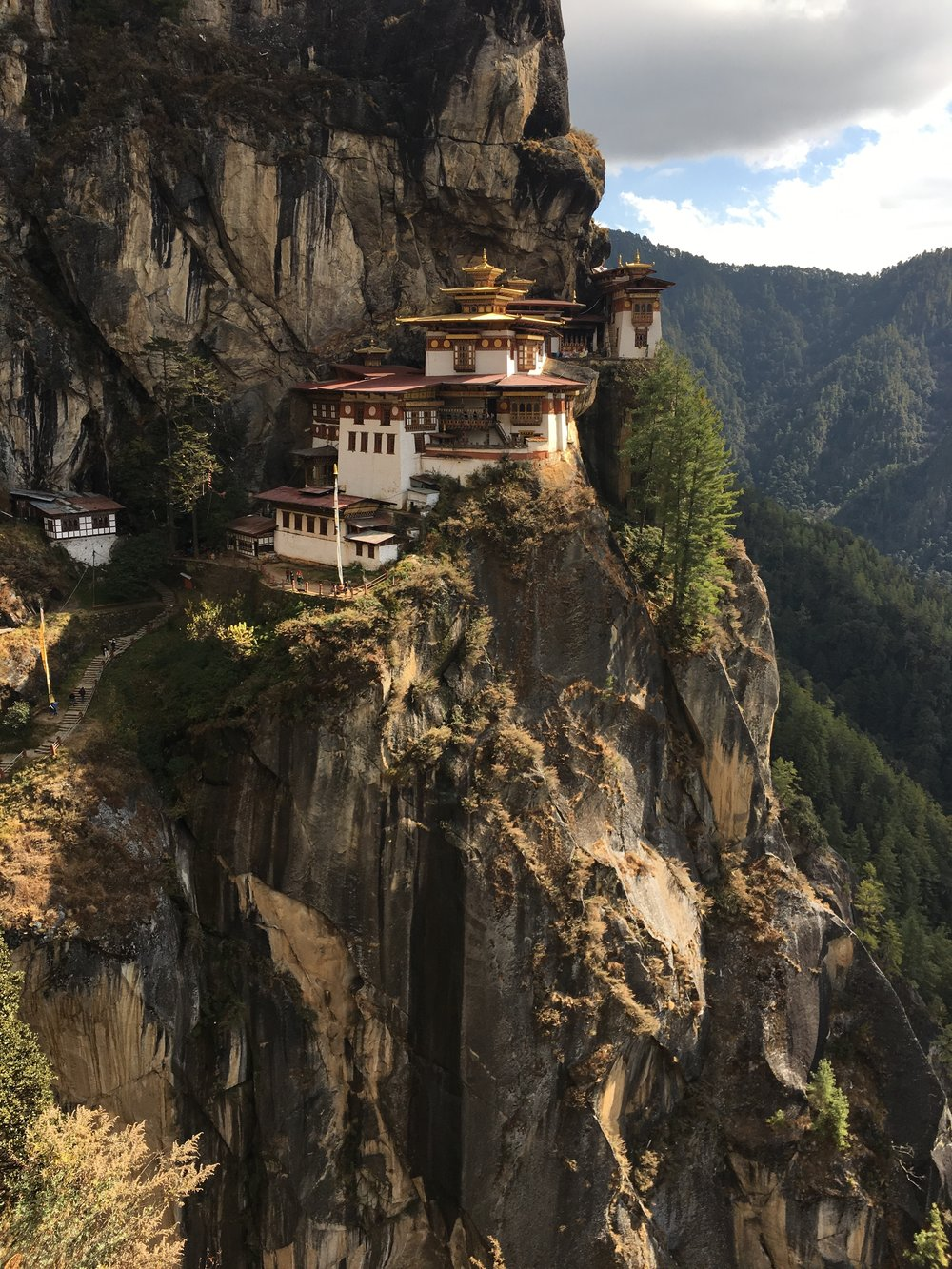 Tiger's Nest, the most auspicious temple in Bhutan, is perched on a cliff 900 meters off the ground.