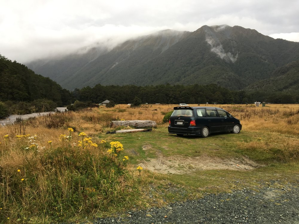 My car at camp before heading to Milford Sound