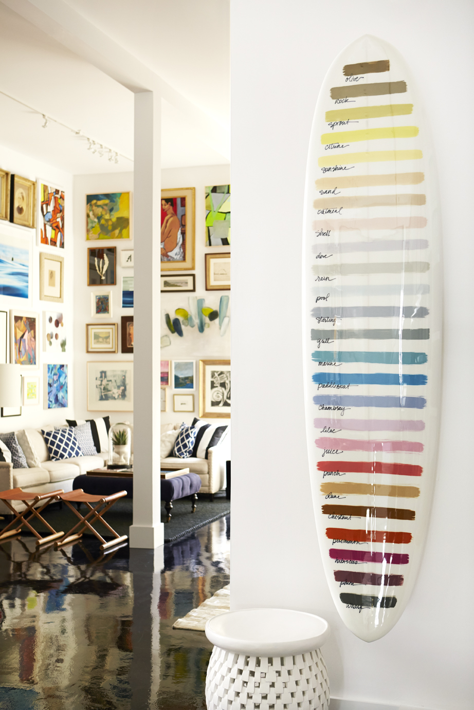 Serena & Lily Design Shop, San Francisco.  Sacramento Street. - Paint-swatch Surfboard -- created to present our Serena & Lily paint color range in a visually memorable way.