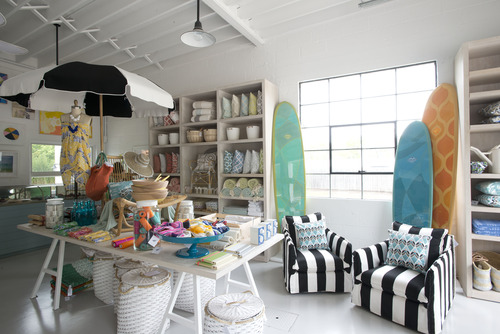 Serena & Lily Beach Market, Wainscott, NY.  Montauk Highway.  Custom surfboards, hand-painted and created for Serena & Lily's first store in the Hamptons.  Created in conjunction with shaper Michel Junod (Santa Cruz, CA).