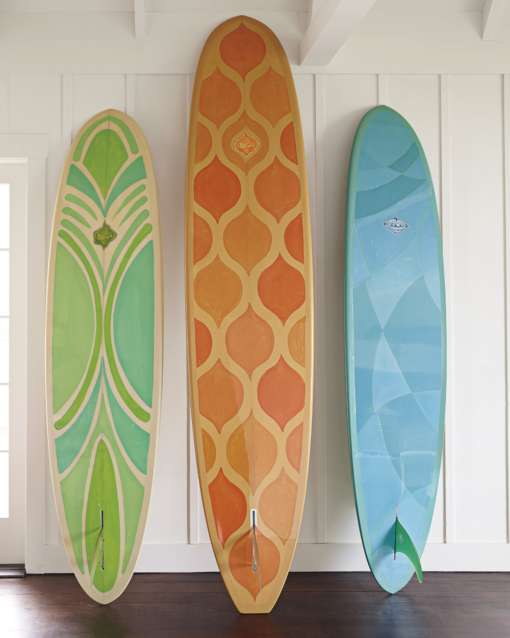 Serena & Lily Beach Market, Wainscott, NY.  Montauk Highway.  Surfboard close-up.