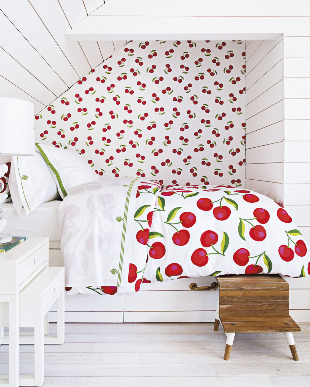 Cherries bedding and wallpaper shown in-situ Serena & Lily store, Westport, CT
