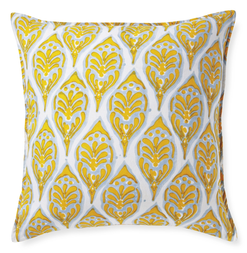 Blockprinted linen pillow (Designed for Serena & Lily)