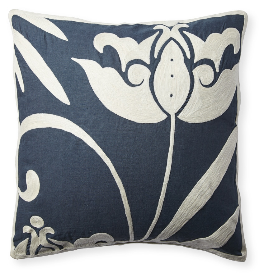 Crewel embroidered linen pillow (Designed for Serena & Lily).