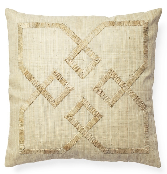 Embroidered raffia pillow (Designed for Serena & Lily)