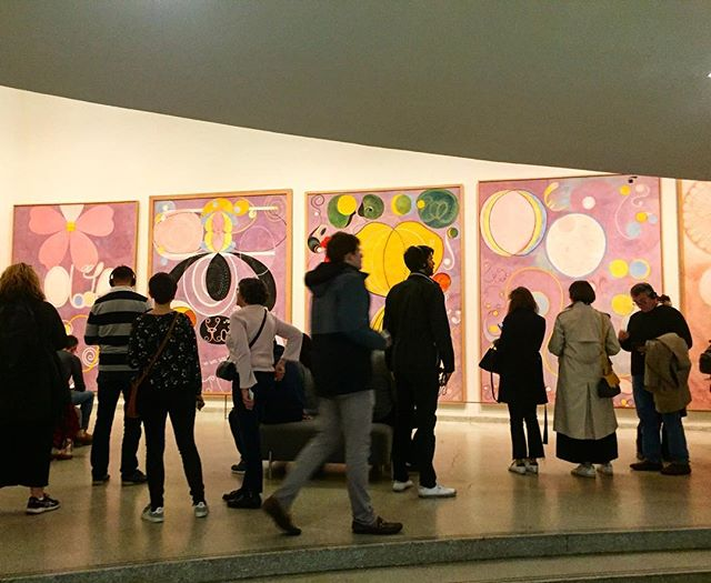 """24 hours in NYC for a birthday party, a meeting, and an artist date with an unmissable show at the @guggenheim.  #hilmaafklint...mind blown.  So get this:  over 1000 abstract works painted from 1906-1922 — long before abstraction was thought to have existed, credited until now to the """"fathers of abstraction"""" (Kandinsky, Mondrian etc) who introduced abstraction to the world. This was Modern Art History as we knew it — they were the pioneers — until the 1980s when Hilma af Klint's oeuvre was brought forward by her family decades after her death. (Her instructions to them: to wait 20 years following her death to show the never-before-seen work, as the world was not ready for it.). This collection titled """"Paintings for the Temple"""" - channeled from the spirits who she claimed to have directed the art's creation, are showcased 100 years later in the building #frankgeary designed for the @guggenheim to be a """"Temple of the Spirit."""" #arthistoryrevised #womeninart #artforartssake"""