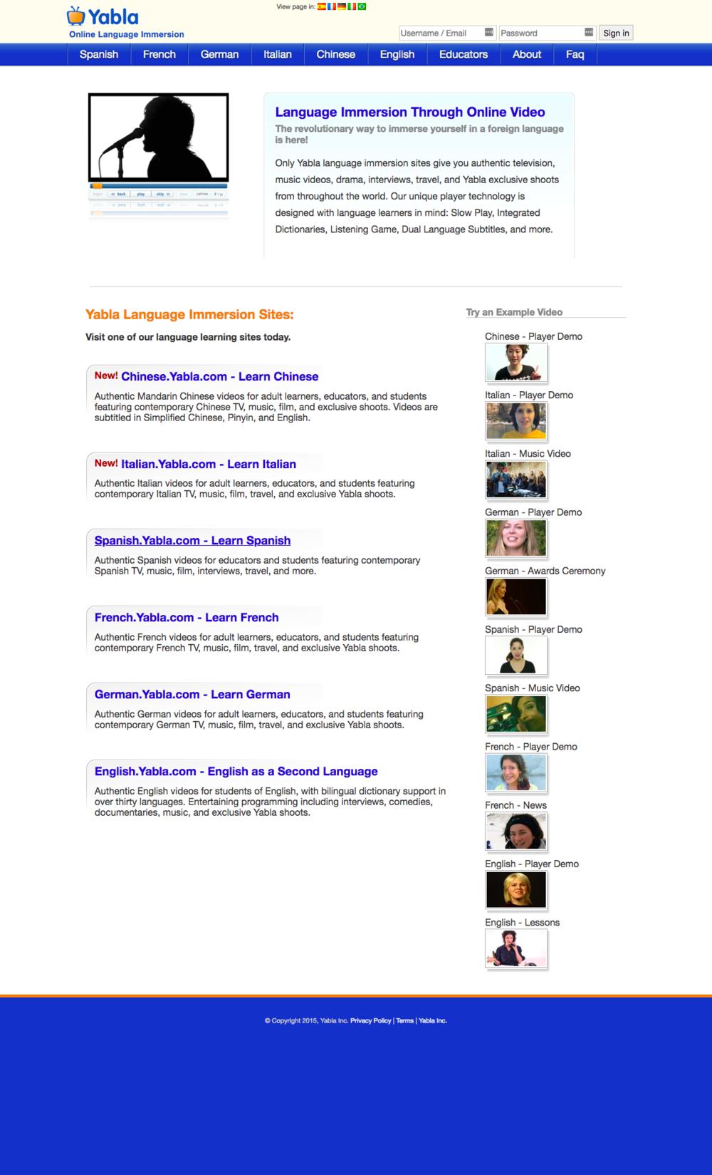 Yabla Homepage Before