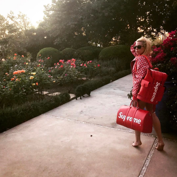 Lady Gaga recently posted a SUPREME X LOUIS VUITTON combo, weighing in on the fanfare of the latest Suoreme collaboration.