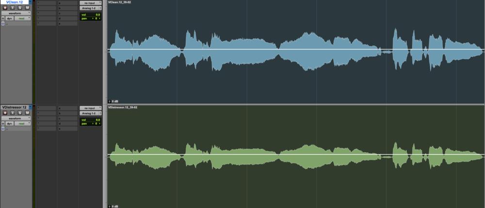 Clean Vocal (top) vs EL-8x Distressor Compressor