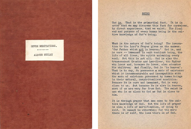 "Original typescript copy of cover and page one of Aldous Huxley's ""Seven Meditations,"" which circulated at Trabuco College in 1943. (reprinted by kind permission of Laura A. Huxley)"