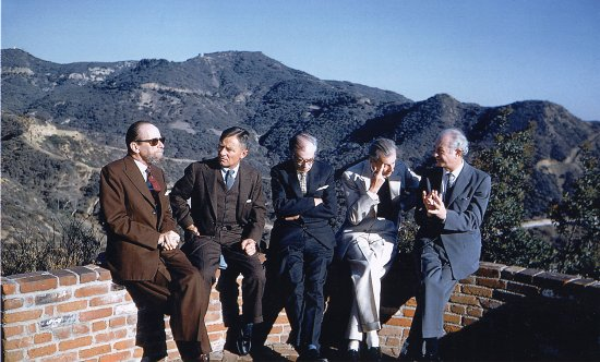 Gerald Heard, Christopher Isherwood, Sir Julian Huxley, Aldous Huxley, and Linus Pauling, Los Angeles, 1960.  - Photo by Ralph Crane of TimePix. Reproduced under license from TimePix.