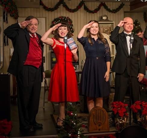 "Oil lamp theater. ""It's a wonderful life: a live radio play."""