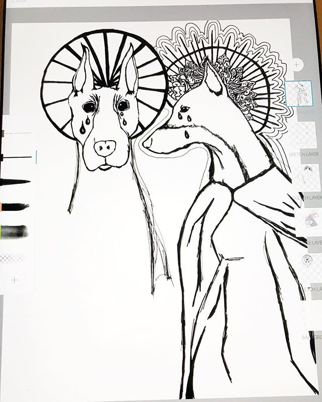 Transforming my Dobies into saints has to be my favorite project yet. #screenprint #design #printmaking #doberman #wip