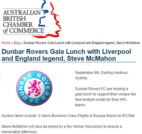Sponsoring Dunbar Rovers Gala