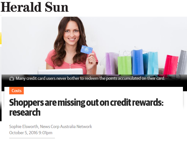Herald Sun - Shoppers are missing out on credit rewards
