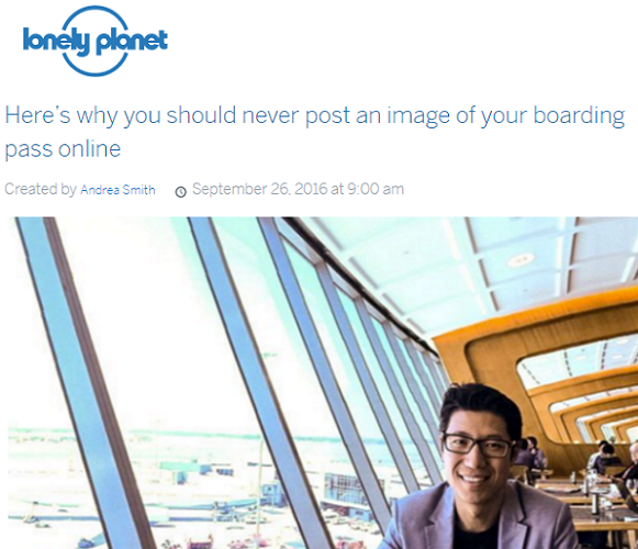 Lonely Planet - Never post your boarding pass online