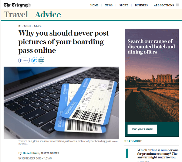 Telegraph - Travel Advice