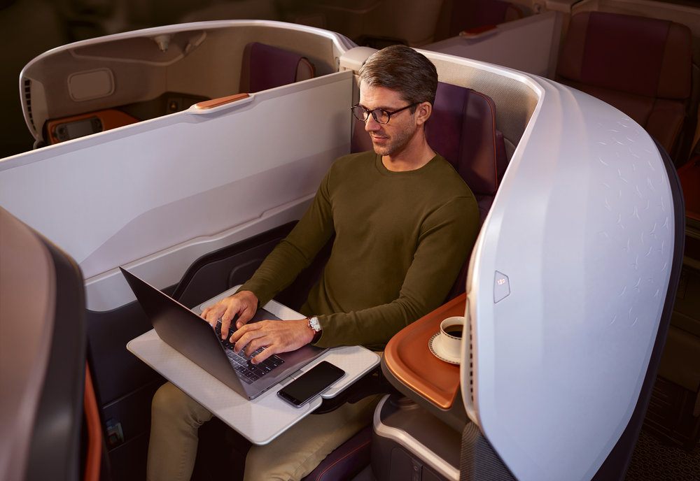 The Business Class seats are a 1-2-1 configuration, with a new sleek design and colour scheme.