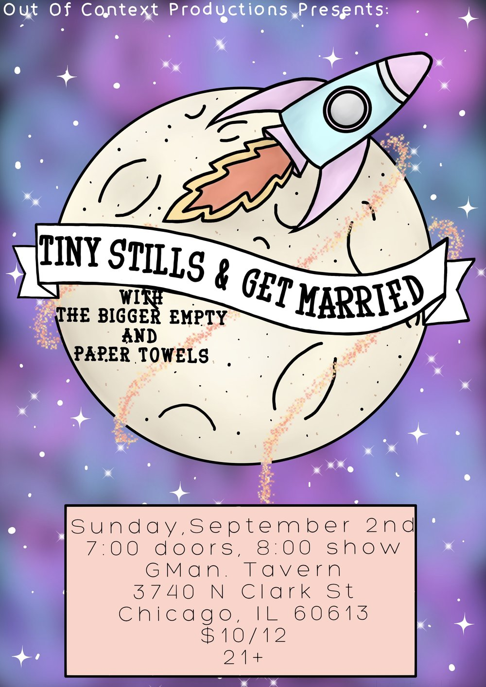 Playing GMan Tavern 9/2 with the amazing TINY STILLS & GET MARRIED! -