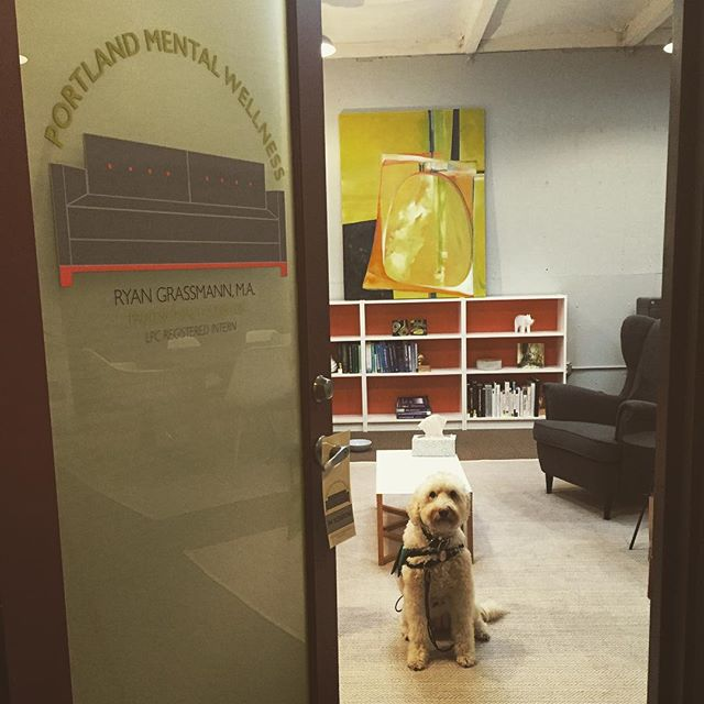 Alice gives you a sneak peak at the new space with its newly installed door decal. #portland #pdx #portlandoregon #mentalhealth #portlandmentawellness #therapy #counseling #psychology #wellness #divisionstreet