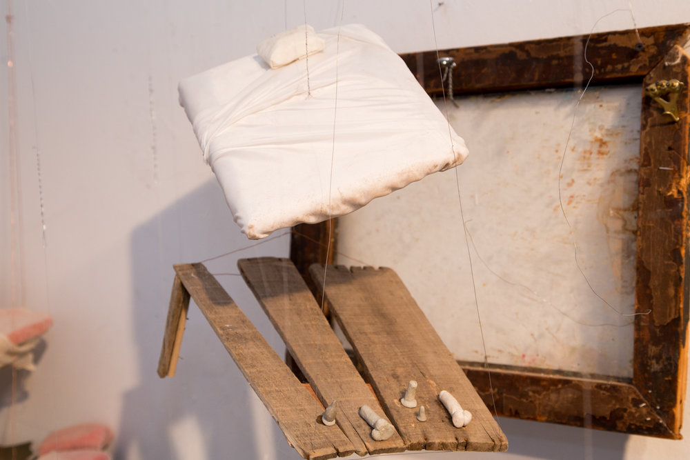 Sleep Installation (detail of a man's bed)