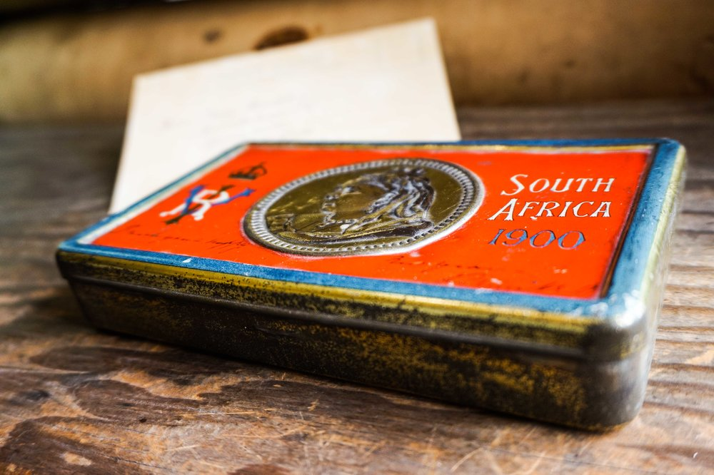 A Queen Victoria chocolate tin given to the British troops during the South Africa campaign, on display at the Whitaker Museum. Fred would not have received one as they were issued just before he arrived