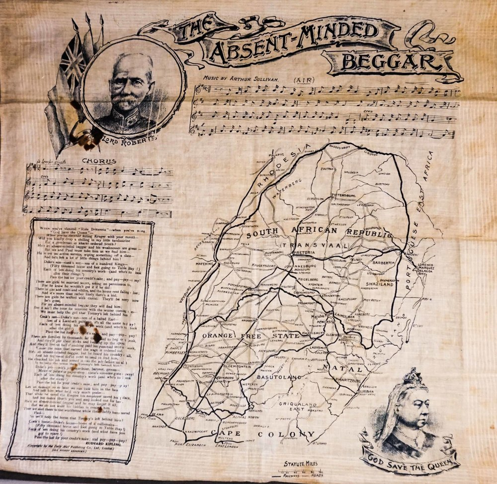 Souvenir South Africa campaign handkerchief on display next to Fred's diary, Whittaker Museum