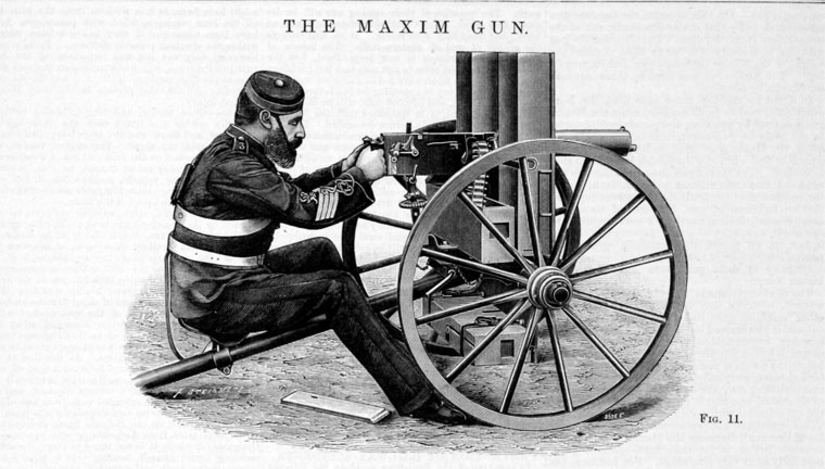The water cooled Maxim machine gun, capable of firing 600 rounds a minute and somewhat incongruously referred to as a 'Pom-Pom' due to the sound it made