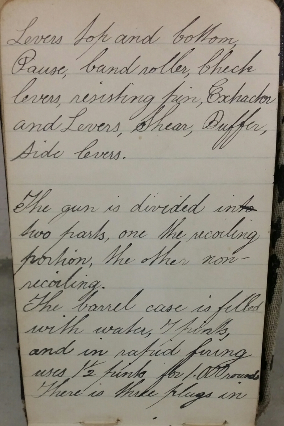 Fred's entries at the back of his diary regarding the Maxim gun