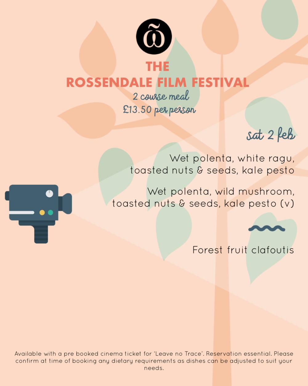 Rossendale Film Festival menu
