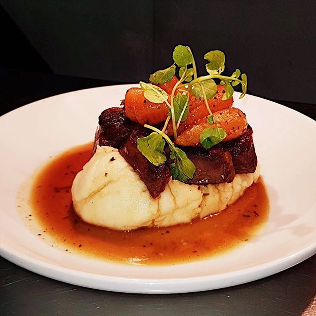 Braised shin of beef, celeriac mash potato and chantenay carrots. Perfect winter warmer!