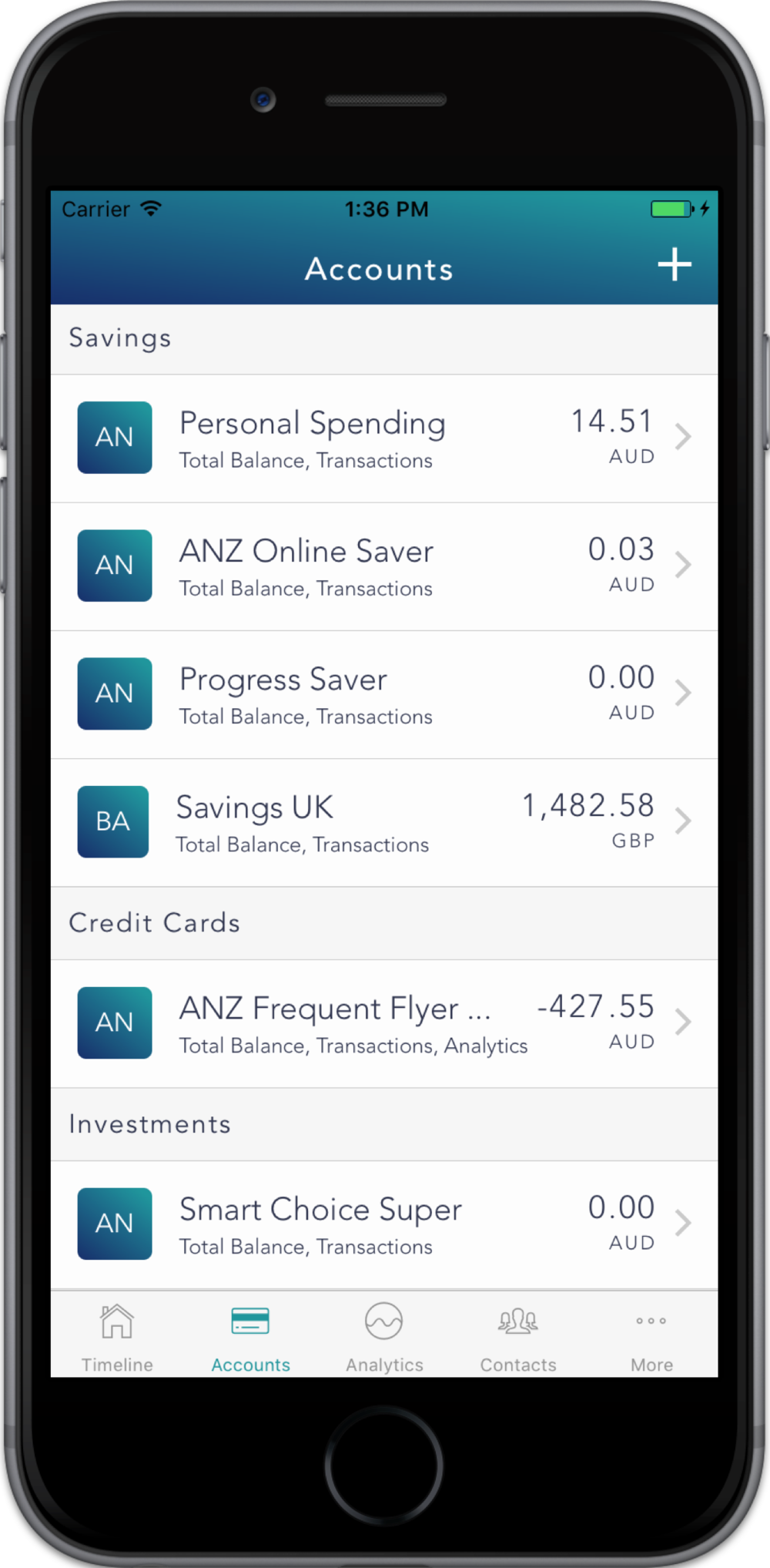 Connect - Add all your bank accounts and credit cards to get an aggregated view of all your accounts in one place. We are making this as easy as possible with Open Banking coming into effect this year.