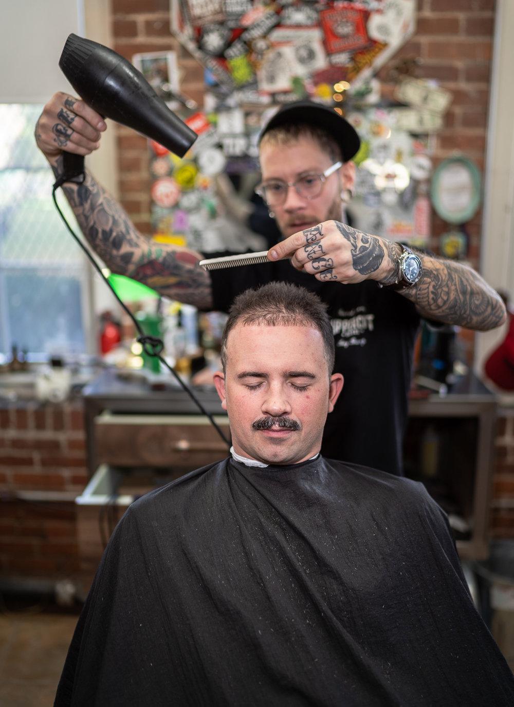 Matt,  Axe To Grind Barber Shop, Shrewsbury Street, November, 2018.