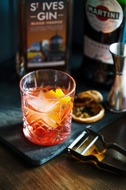 Blood Orange Negroni Cocktail with St Ives Blood Orange Gin