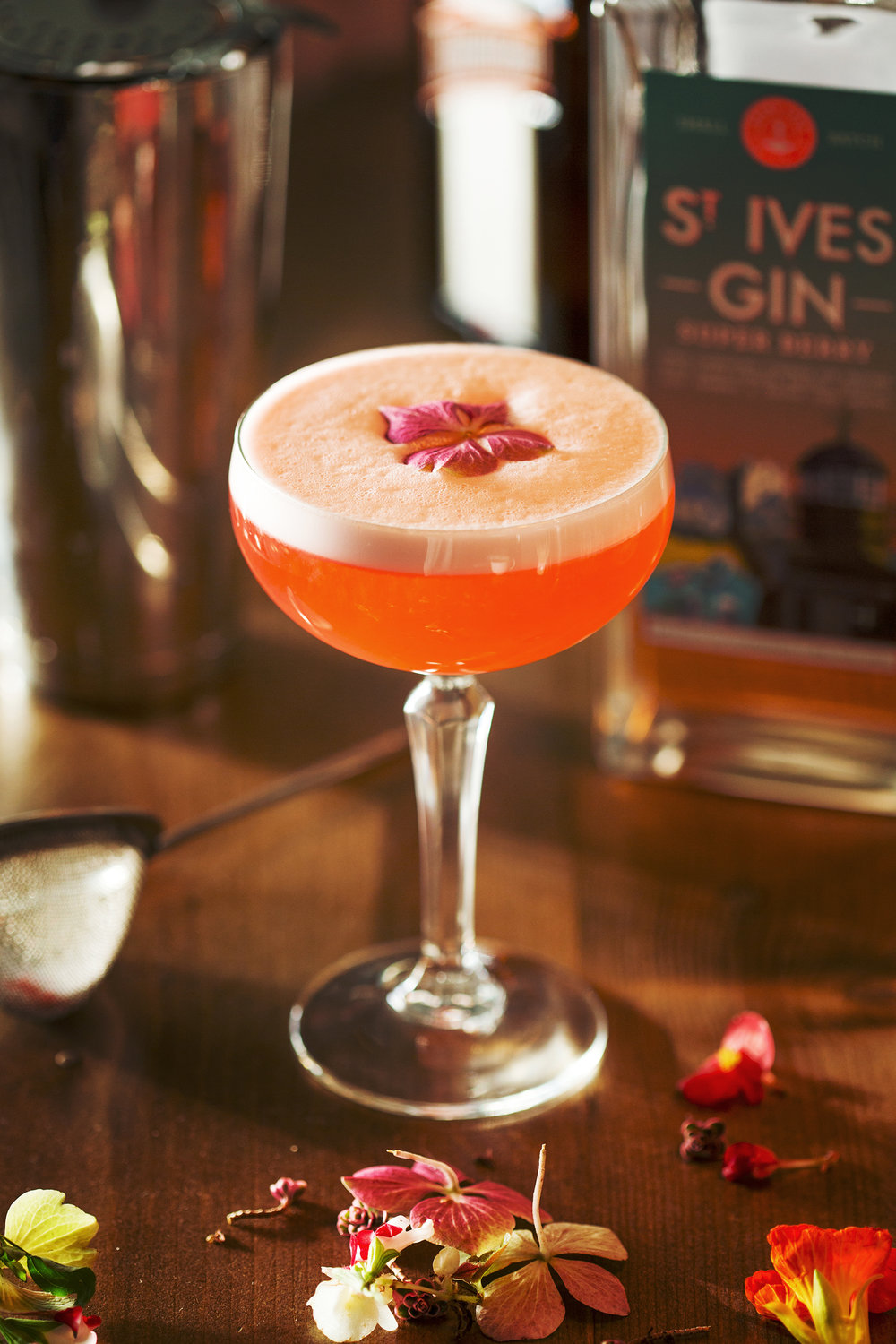 Super Pink Lady Cocktail with St Ives Super Berry Gin