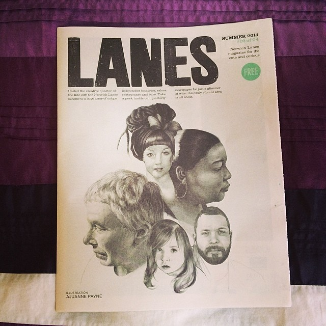 Our wonderful artist friend Ajuanne Payne who exhibited at The Bridge in February got an exciting commission to create an image for the latest issue of the Lanes paper! I think you'll agree it's pretty stunning… the paper also features a neat little interview with another of our faves Henry Boon. Look out for copies around the Norwich Lanes and pick one up, it's completely FREE!