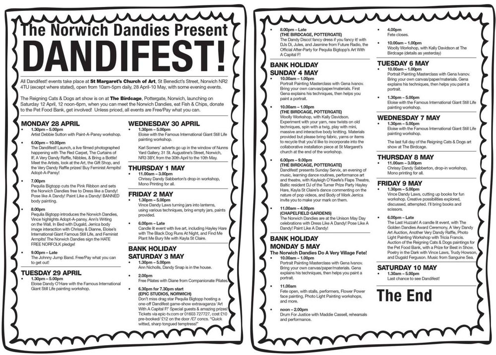 Here's whats in store during   DANDIFEST!   2014. Launching on Monday 28th April, don't forget all the pictures in  Reigning Cats & Dogs  will be auctioned off at St. Margaret's Church on Friday 9th May.