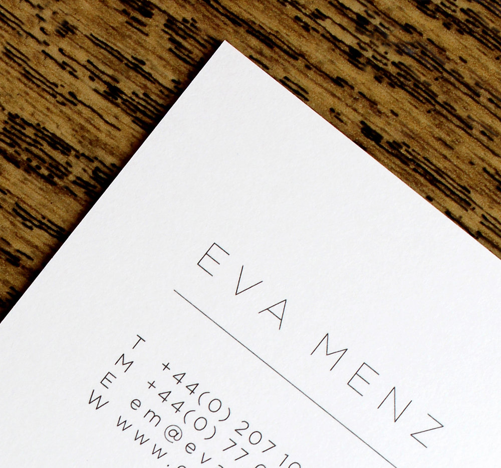 Eva Menz litho print deboss foil business card