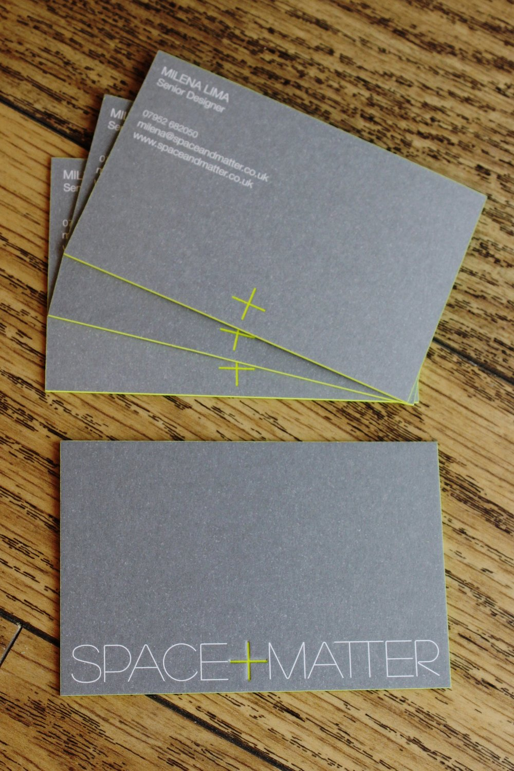 Litho printed duplex, deboss and edge coloured Space Matter business card