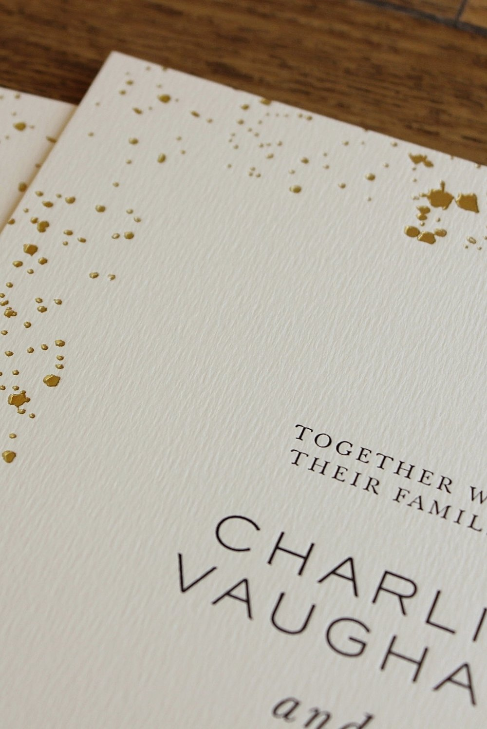 Charlie Vaughan letterpress and foil wedding invitations