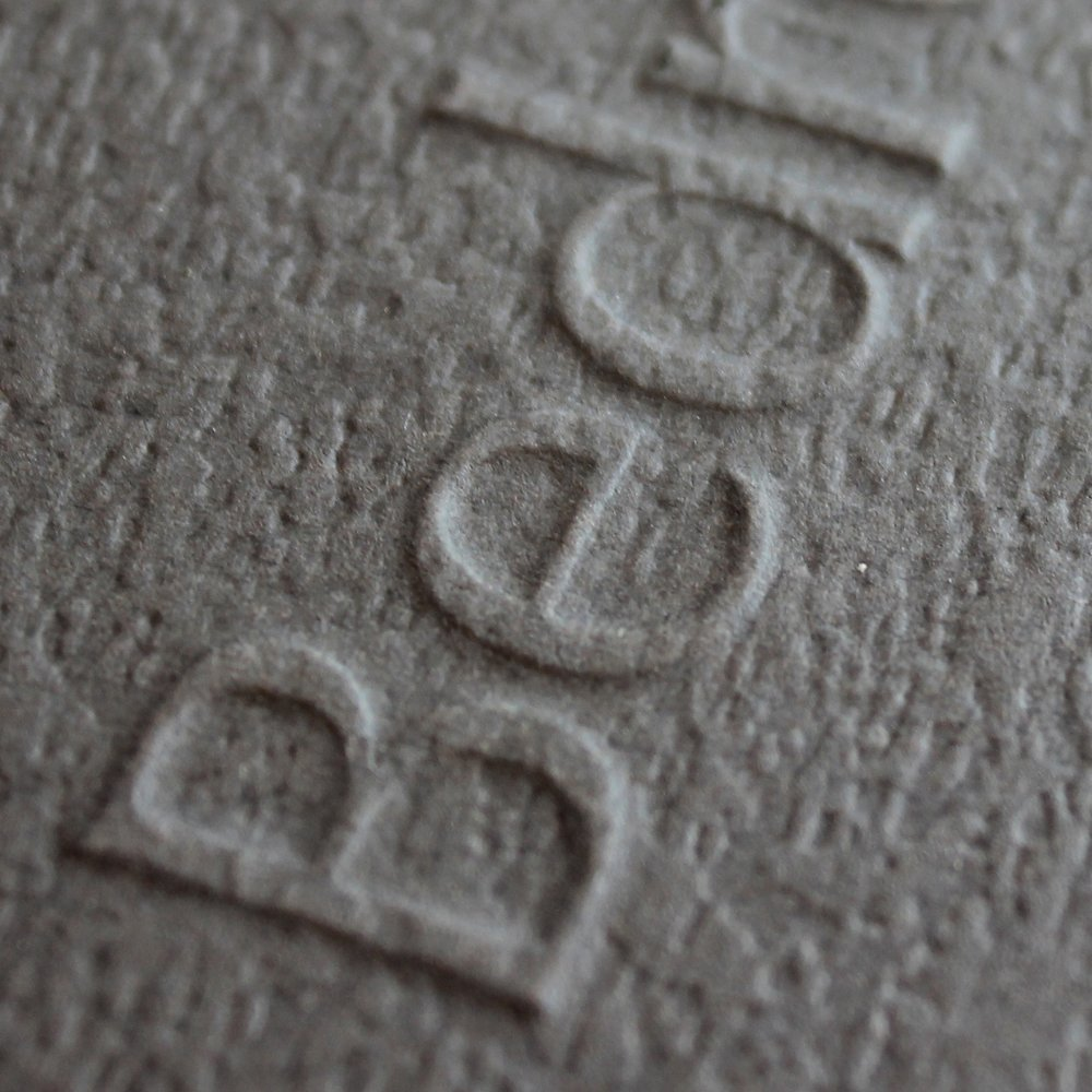 Embossed business card sample