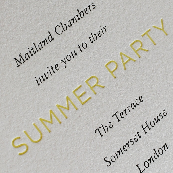 Maitland Chambers summer party letterpress invitation