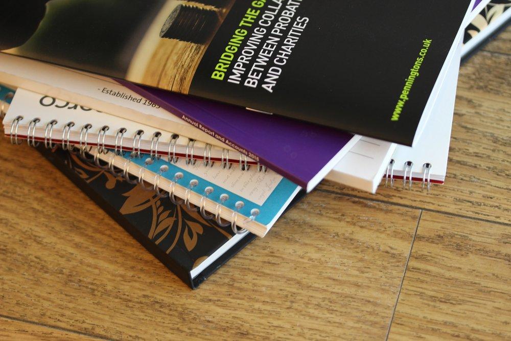 Variety of bound stationery documents