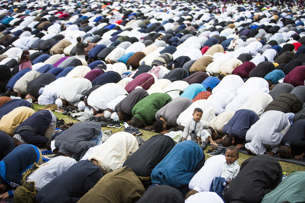 Thousands of muslims attend morning prayers at Small Heath Park in Birmingham this morning to celebrate Eid, which signifies the end of Ramadan