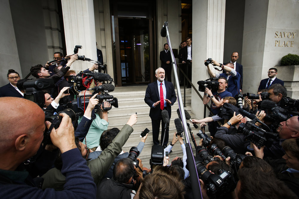 "Jeremy Corbyn talks to the press as he confirmed Labour's shadow cabinet and national executive committee have ""unanimously agreed"" the party's manifesto."