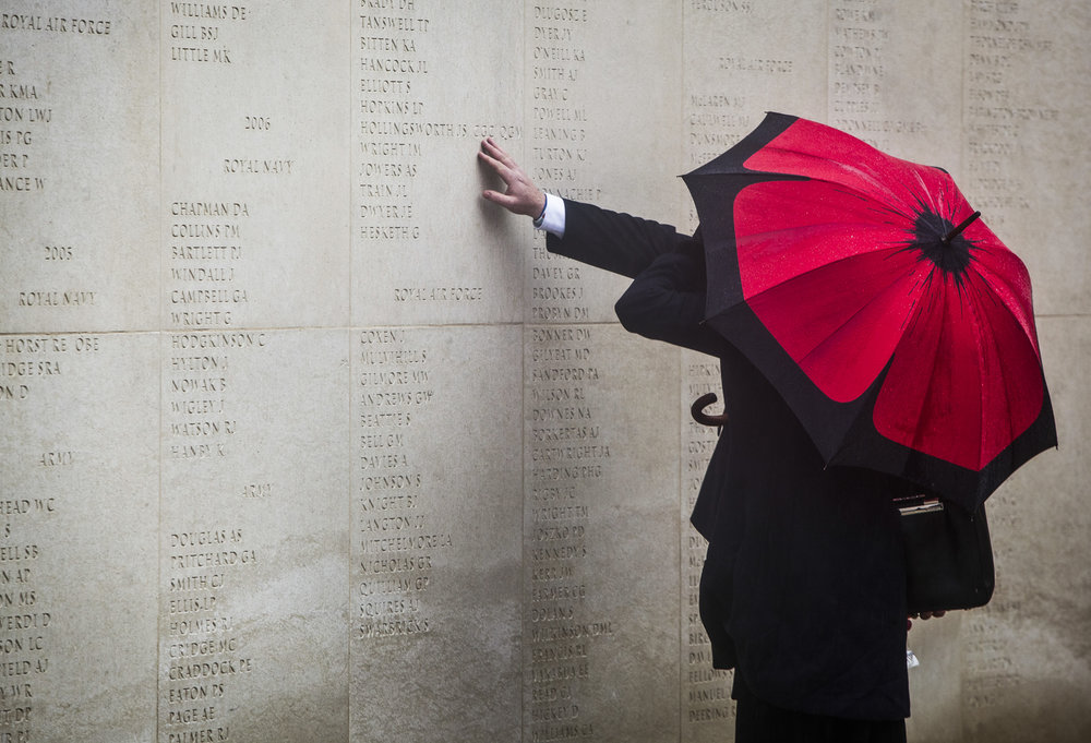 Dignitaries pay their respects to the fallen at the Armistice Day Service at the National Memorial Arboretum.