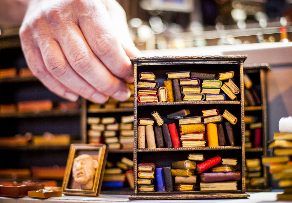Miniature bookshelves on show at the Miniatura exhibition and trade show at the NEC in Birmingham