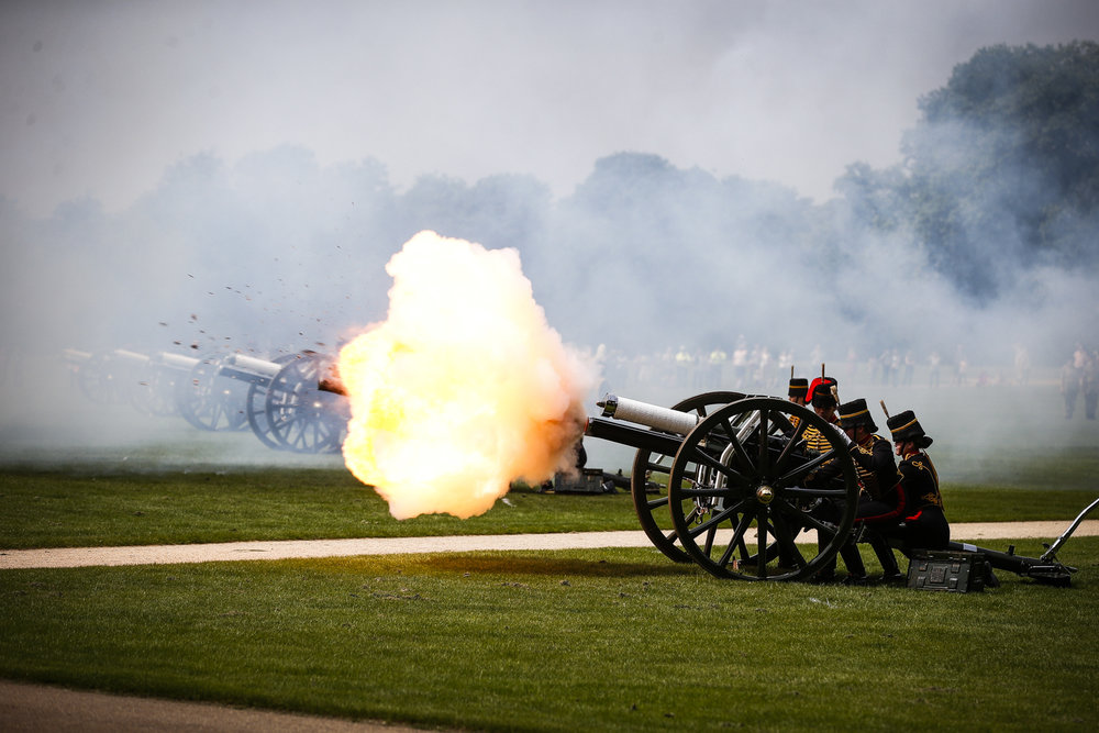 In honour of the anniversary of HM The Queen's Coronation, the Army fire a Gun Salute in London's Hyde Park.