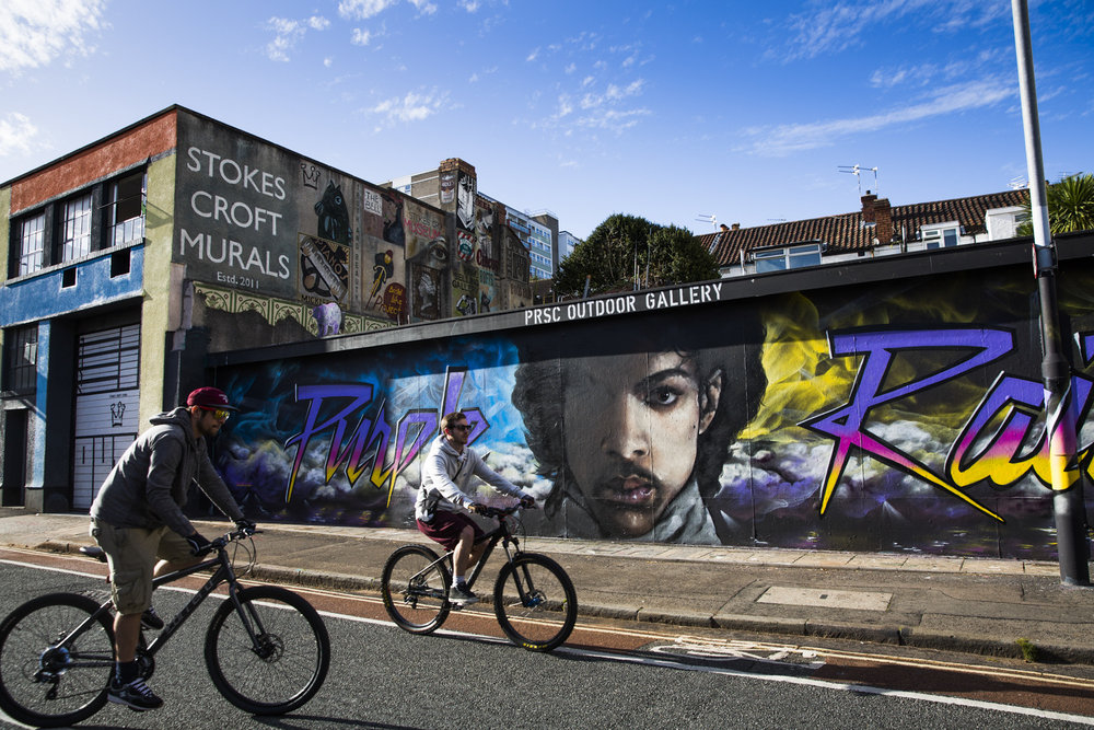 A street mural of singer Prince in Stokes Croft, Bristol.