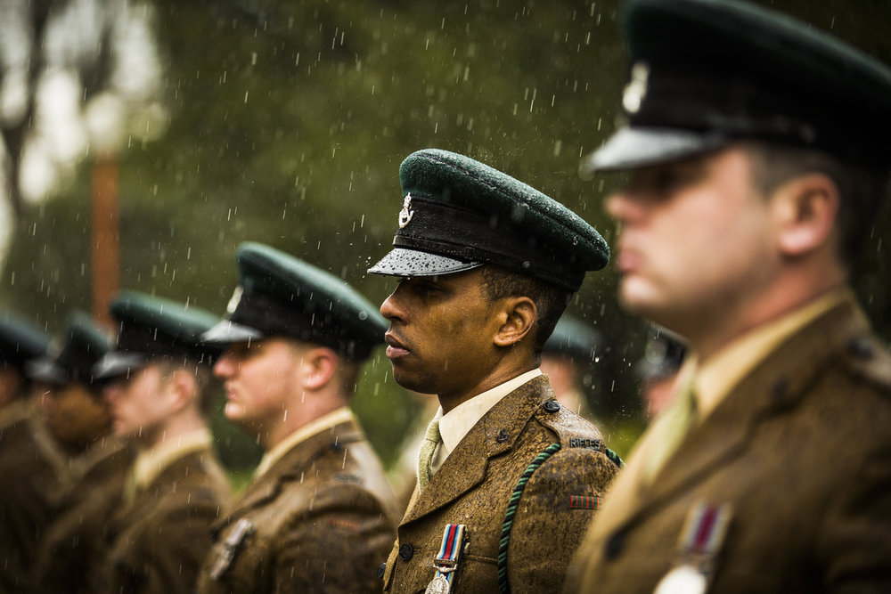Soldiers and Officers The 3rd Battalion the Rifles Regiment line up for inspection.